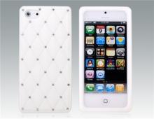 Бял силиконов калъф за iPhone 5/5s с камъни