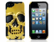 Силиконов калъф с череп - златист - за iPhone 5/5s