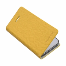 Кожен луксозен калъф за IPHONE 5/5S Жълт тип папка KOMODO