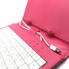 Детски розов калъф с клавиатура за 7 инча таблети - micro USB + ПИСАЛКА подарък