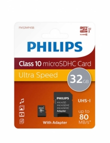 Карта памет PHILIPS 32GB microSDHC class 10 + АДАПТЕР