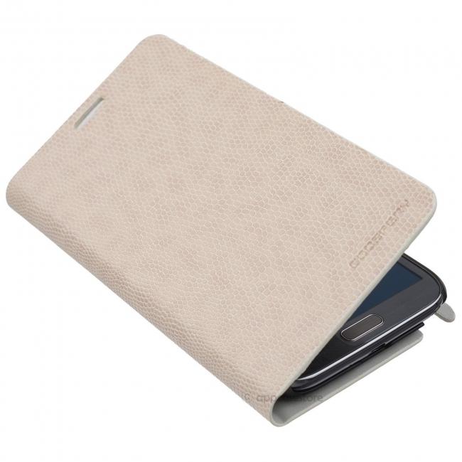 Кожен луксозен калъф за SAMSUNG GALAXY  NOTE 2 Бял тип папка KOMODO