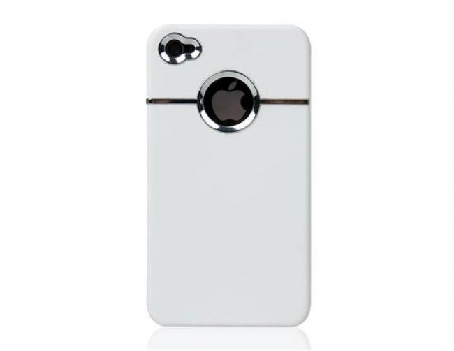 Пластмасов калъф за Iphone 4/4S БЯЛ С ДУПКА