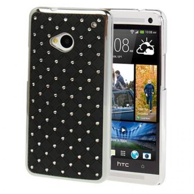 Пластмасов калъф за HTC-ONE М7 ЧЕРЕН С КАМЪЧЕТА
