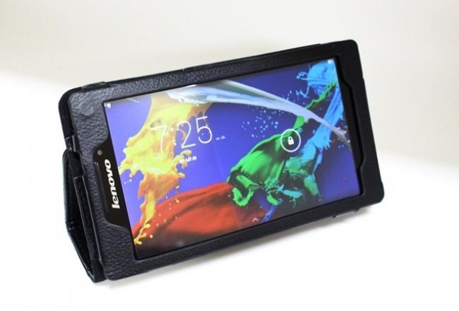 Черен кожен калъф за Lenovo TAB 2 A7-10 - 7 инча ПАПКА + ПИСАЛКА