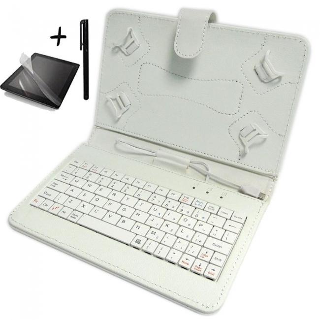 Калъф с клавиатура TabLux за таблети 7 и 8 инча, бял, с протектор и писалка