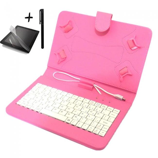Калъф с клавиатура TabLux за таблети 7 и 8 инча,розова, с протектор и писалка