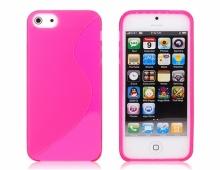 Розов силиконов калъф за iPhone 5/5s мат/гланц