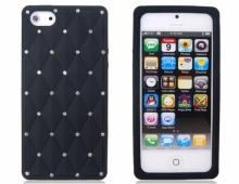 Черен силиконов калъф за iPhone 5/5s с камъни