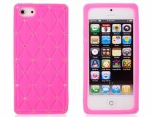 Розов силиконов калъф за iPhone 5/5s с камъни