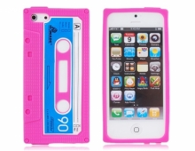 """Розов силиконов калъф """"касетка"""" за iPhone 5/5s"""