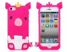 Силиконов калъф тип прасе - розов - за iPhone 5/5s