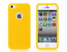 Жълт силиконов калъф с дупка за iPhone 5/5s