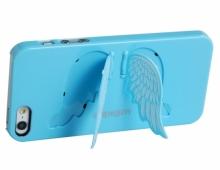 """Пластмасов калъф """"ангелски крила"""" син за iPhone 5/5s"""