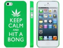 Пластмасов калъф Keep calm and hit a bong зелен за iPhone 5/5s