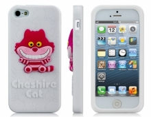 Силиконов калъф Cheshire cat котка бял за iPhone 5/5s