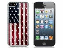 Пластмасов калъф с камъни флаг на USA за iPhone 5/5s