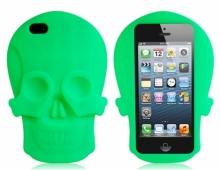 Силиконов калъф във формата на череп -зелен- за iPhone 5/5s