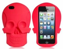 Силиконов калъф във формата на череп -червен- за iPhone 5/5s