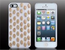 Пластмасов калъф за iPhone 5/5s Бял със Златисти черепи
