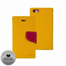Кожен луксозен калъф за IPHONE 5/5S Жълт тип папка GOOSPERY