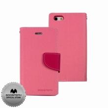 Кожен луксозен калъф за IPHONE 5/5S Розов тип папка GOOSPERY