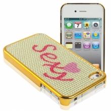 Пластмасов калъф с кмъни за iPhone 4/4s Sexy - златист