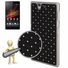Пластмасов калъф за Sony xperia Z - L36h  черен с камъчета